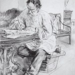 Ilya Repin, leo-tolstoy-working-at-the-round-table-1891